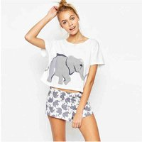 2019 Latest design ladies round neck simple Tee school girls elephant printed crop top summer casual clothes T-shirt women