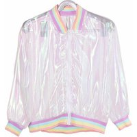 Summer Women Jacket Laser Rainbow Hologram Women Coat Iridescent Transparent Bomber Jacket Sunproof for Wholesale and Dropship