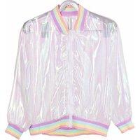 Summer Women Jacket Laser Rainbow Hologram Women Coat Iridescent Transparent Bomber Jacket Sunproof for Wholesale and Dropship