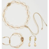 3 Different Design Gold Natural Cowrie Shell Bracelet Necklace Set Sea Shell Necklace