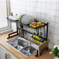 Dish Drying Rack Over Sink Display Stand Drainer Stainless Steel Kitchen Supplies Storage Holder (Black)