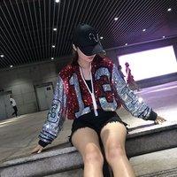 New Hip Hop Short Sleeve Red Black 13 letter Casual Sequin Bling  Women Number 13 Sequin Jersey Sequin jacket/jumper