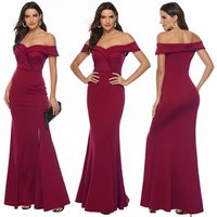 2019 Sexy Women Wedding Burgundy Dresses Ladies Off Shoulder Bridal Bridesmaid Party Wear Gown Long Evening Dress
