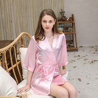 Custom Logo Breathable Soft Satin Sweet Pink Sexy Night Gown for Women