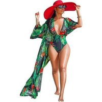 Sexy summer floral printed two piece set beach cover up monokini bathing suit ladies