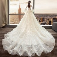 2019 Summer Long Train Ruffles Sleeves off shoulder Wedding Gowns
