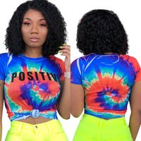3702  hot sale fashion neck Printed blouse tie dye t shirts women