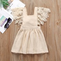0-3years Pink Cotton Baby Linen Dress Girl Children Clothes With Flutter Lace Sleeve M90514