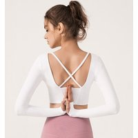 YouJia Wholesale Women Activewear Long Sleeve T Shirt Padded Back Cross Yoga Crop Top with Built in Bra