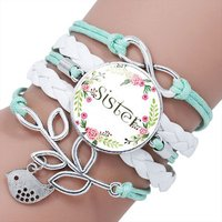 Factory Wholesale Trendy Image Bracelet Handmade Leather Glass Cabochon Sister series Fashion Wrap Bracelet for women with words