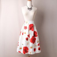 Custom Fit High Waist Lady Pleated Flower Printing Long A Line Plus Size Skirt For Spring
