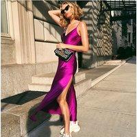 Sexy Maxi Satin Dress Summer Women Spaghetti Strap V Neck High Waist Slit Backless Black Red Long Dress Party Club