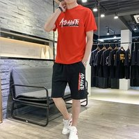 2019 summer new short-sleeved t-shirt mens suit casual sports street fashion mens clothing set with handsome mens clothing