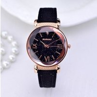Bosally Luxury Brand High Quality Leather Women Watches Starry Dial Clock Watch Casual Dress Quartz Ladies Wristwatch Gift
