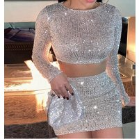 Sequins 2 Piece Outfits for Women Strapless Crop Top Bodycon Mini Skirt sexy 2 piece set women