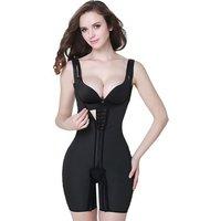 Latex Compression Full Body Shaperwear Women Front Zipper 4 Row and  Hooks Butt Lifter Panty,Hip-Up Abdomen Corset