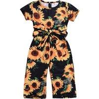 Baby clothing girl toddler jumpsuit floral princess romper playsuit short sleeve sunflower kids jumpsuits