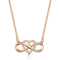 Fashion creative link love heart micro set series pendant necklace infinity heart zircon-plated rose gold necklace