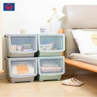 side pick foldable transparent clear toy/tool/food plastic storage box