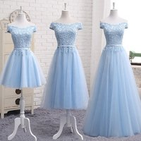 2019 Tulle Blue Lace Long Simple Short Party Off Shoulder Bridesmaid Dress With 3 Styles