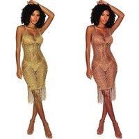 Women sexy tassel Swimsuit Cover Up Summer hollow out Crochet sleeveless Beach Dresses