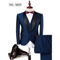 Morili High quality one button Custom Slim Fit Lapel Best Man Suit Blue Groomsmen in stock black collar man suits MMSB14