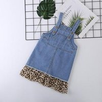 Cute Denim Suspender Leopard Skirt Kids Baby Girls Dress Strap Jeans Overalls Clothes