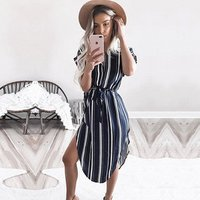 2019 Summer dresses wome Striped Office casual dress Batwing Short Sleeve Tunic Bandage Bodycon Beach Party Dress Vestidos mujer