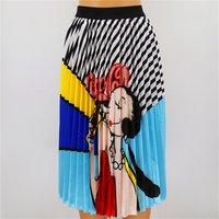 High waist long rainbow print large size satin pleated skirt womens pleated maxi skirt