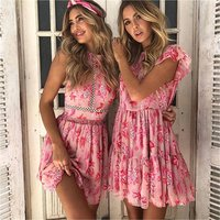 Women summer lace up boho hollow out patchwork halter holiday backless floral print short mini dress