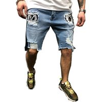 biker jeans shorts Mens summer stretch denim  pants short  fit skinny breathable Five trousers skinny jeans England