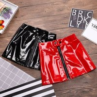 Brand New Toddler Infant Child Kids Baby Girl PU leather Skirt Princess Sequins Leather Mini Skirt Zipper dress Outfits