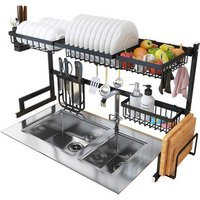 Cheap Black Color Kitchen Ware Drainer Plastic Dish Drying Rack with Cover