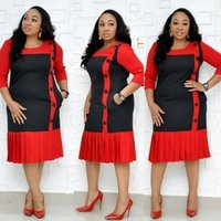 African office dress formal extra large size womens pleated pencil dresses