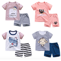 2PCS Little Boys Summer Outfits Clothes short sleeve T-Shirt Tops and Shorts Pants