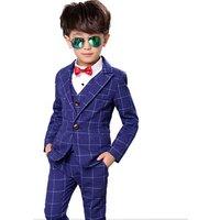 2019 Kids Plaid Wedding Suits Blazer Vest Pants 3PCS Brand Flower Boys Formal Tuxedos School Suit Kids Formal Clothing Set