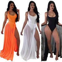 SAK8596 wholesale swim bodysuit and transparent drawstring skirt two piece set sexy women beach cover up dress