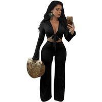2019 Women Clothes Two Piece Outfits Front Tie Crop Top Wide Leg Bottom Jumpsuit Pants Set