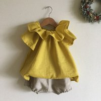 Baby Outfits Girls Cotton Linen outfit solid ruffle Childrens Sleeveless Clothing outfit