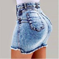 Womens Summer New High Waist Washed Denim Skirt Denim Short Mini Jeans Skirt
