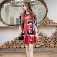 New Hip Hop Short Sleeve Red Black 13 Print Casual Sequin T Shirt Dress Women Number 13 Sequin Jersey Shirt