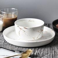 Dishwasher safe ceramic 4.5 inch bowl personalized marble soup pasta salad cereal bowls