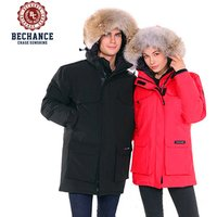 men and ladies canada style down overcoat with fur hooded down jacket