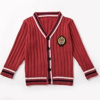 Wholesale Acrylic Knitted Uniform Cardigan Boys and Girls School Sweater