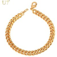 U7 Free Shipping 18K Gold/Rose Gold Plated 6mm Bangle Hand Curb Chain Silver Color Male Bracelet Chain for Men