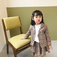 Academic single breasted plaid suit coat two pieces skirt kids girls clothing set