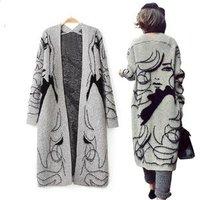 Fashion unique design ladies long cardigan sweaters
