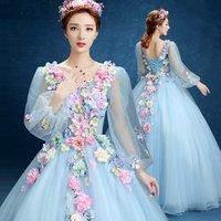 Long sleeve V neck appliqued flower decorated wedding use vestidos de novia royal blue princess wedding gown dress