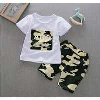 New childrens clothing childrens short-sleeved T-shirt suit boys shorts baby summer models camouflage cotton two-piece tide