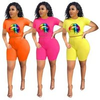 New ladies sports casual color lip print T-shirt tops and shorts suit 2 piece suit